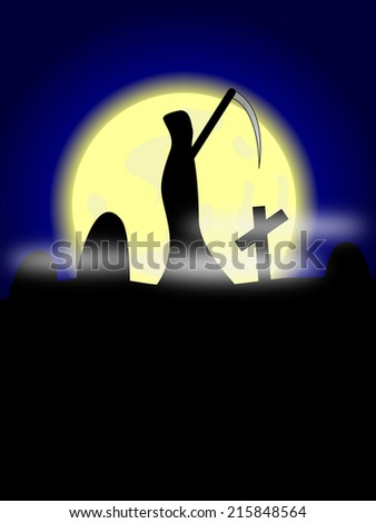 Grim reaper on cemetery with moon - stock vector