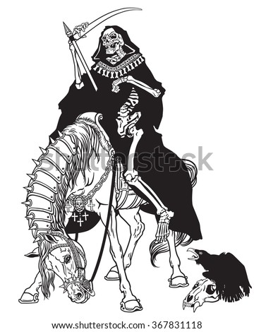 grim reaper symbol of death and time sitting on a horse and holding scythe . Black and white image - stock vector