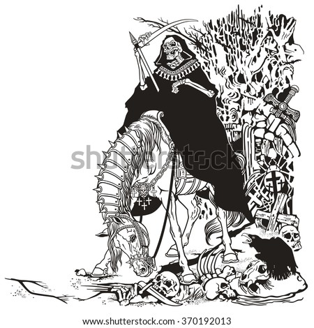 grim reaper symbol of death and time sitting on a horse and holding scythe in old cemetery . Black and white illustration