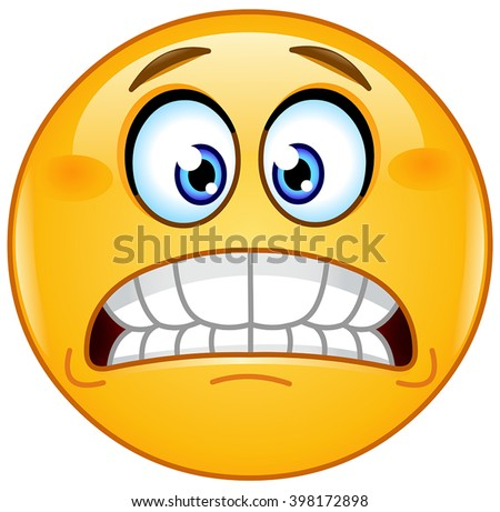 Grimacing emoticon showing bared teeth