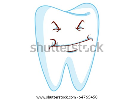 Grin Tooth Cartoon Character Illustration in Vector - stock vector