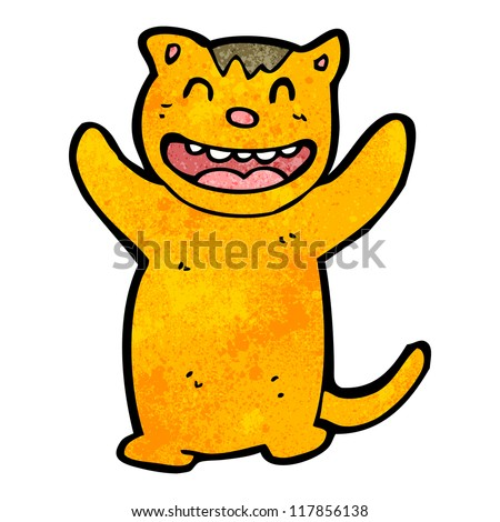 grinning cat cartoon character - stock vector
