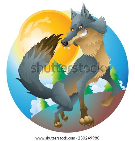 Grinning wolf  posing at the moon cartoon illustration - stock vector