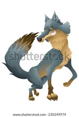 Grinning wolf posing cartoon illustration - stock vector