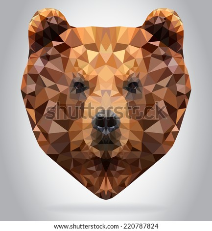 Grizzly Bear head vector isolated, geometric modern illustration - stock vector