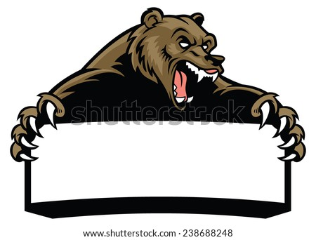 grizzly bear hold the blank sign - stock vector