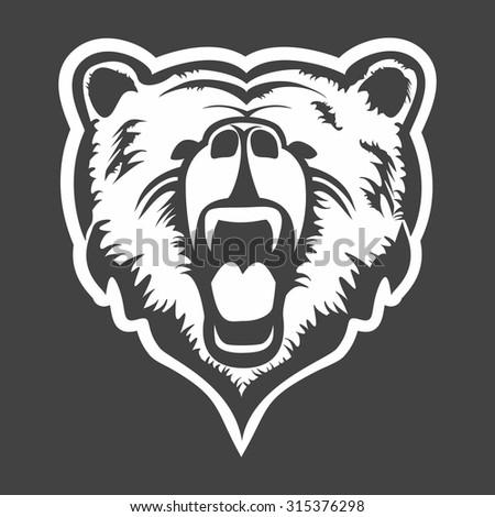grizzly head logo vector - stock vector