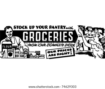 Groceries - Retro Ad Art Banner - stock vector