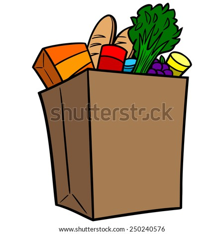 grocery bag stock vector hd royalty free 250240576 shutterstock rh shutterstock com grocery bag clip art free grocery bag clip art free