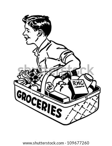 Grocery Delivery Boy - Retro Clipart Illustration - stock vector