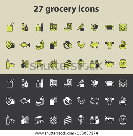 grocery icons vector set - stock vector