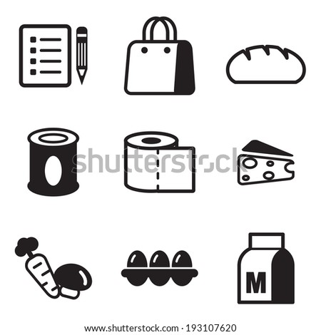 Grocery List Icons - stock vector