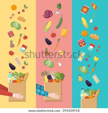 Grocery shopping banners set, consumer's hands holding a shopping bag full of vegetables and products - stock vector