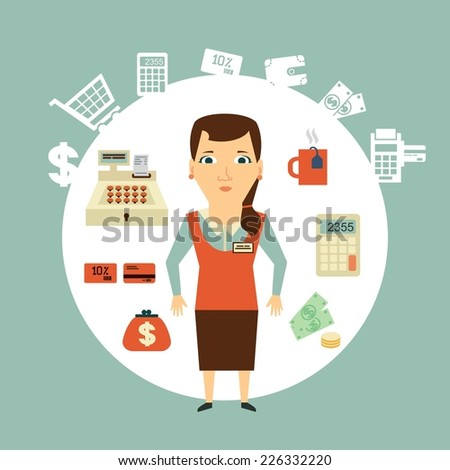 grocery store cashier illustration - stock vector
