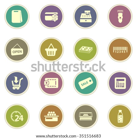 Grocery store stickers label icon set