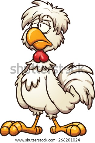 Groggy cartoon chicken. Vector clip art illustration with simple gradients. All in a single layer - stock vector