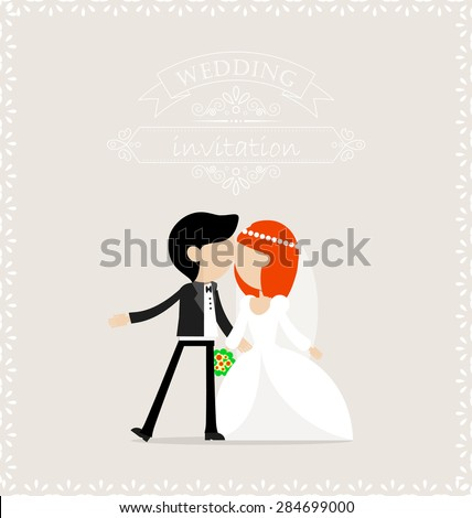 Groom and bride kissing on the day of wedding - stock vector