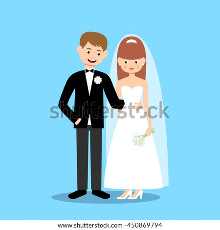 Groom and bride on a blue background. Vector