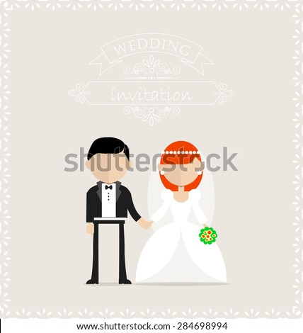 Groom and bride standing still on the wedding invitation card - stock vector
