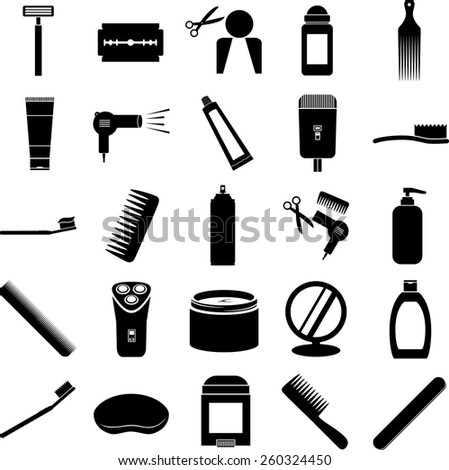 grooming symbols set - stock vector