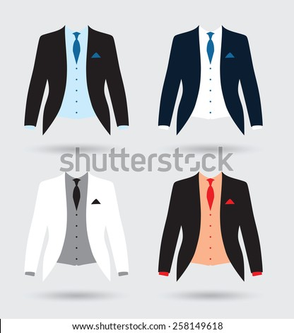 grooms suit jacket outfit set - stock vector
