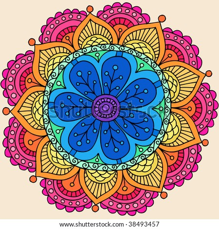 Groovy Psychedelic Rainbow Henna Mandala Flower Doodle Vector Illustration - stock vector