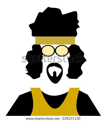 groovy retro man with afro hair and headband - stock vector