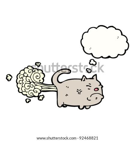 gross farting cat cartoon - stock vector