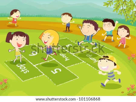 Ground of friends playing hopscotch in the park - stock vector
