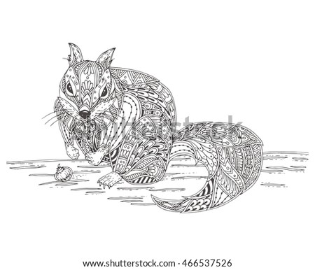 Ground Squirrel Or Chipmunk With Doodle Pattern Coloring Page
