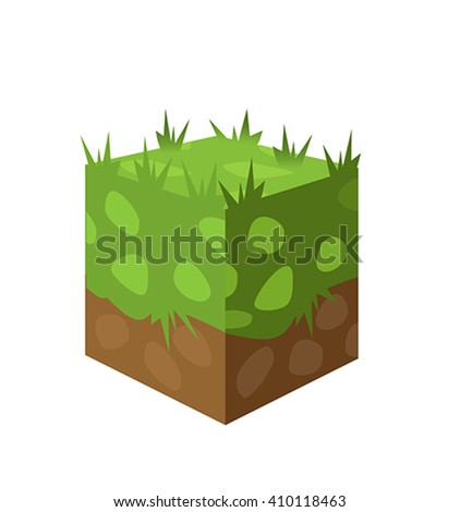 Ground surfaces. Grass, rocks and water. Landscape web design. Vector illustration