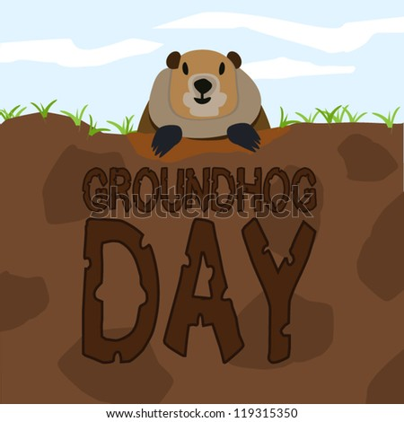 Groundhog come out from the land to greet on Groundhog Day - stock vector