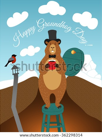Groundhog day greeting card. Vector illustration.