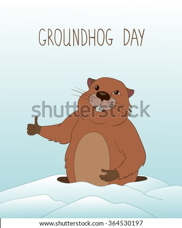 Groundhog Day greeting card with cartoon cheerful groundhog. Ground hog emerges from its burrow.Snowy scene.Vector Illustration.