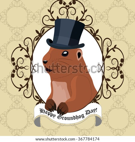 Groundhog day greeting card with cute marmot in black hat sitting in vintage frame.