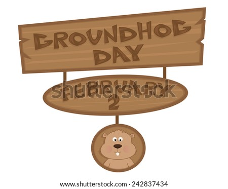 Groundhog Day Sign - Cartoon Groundhog Day Sign with cute groundhog at the bottom. Eps10 - stock vector
