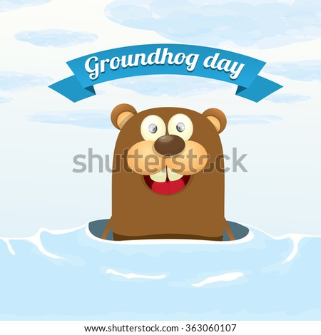 Groundhog day. vector greeting card to groundhog day 2 february. Spring beginning .