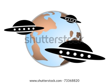 Group alien spacecraft approaching the planet earth - stock vector