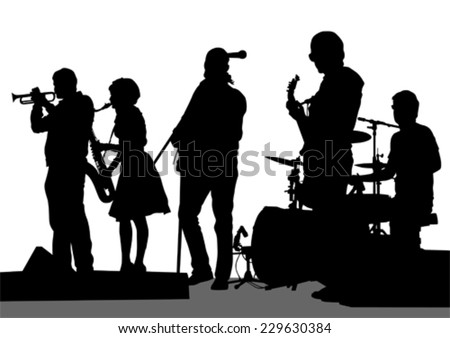 Group and singer of rock band on white background - stock vector