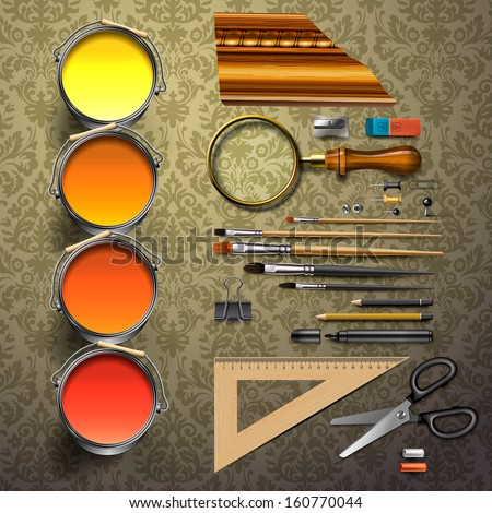 Group art supplies, vector illustration.  - stock vector