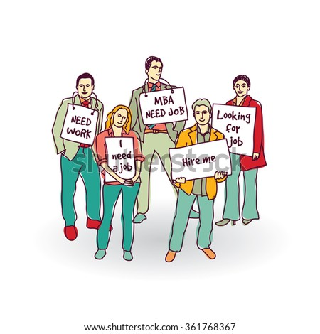 Group business people unemployed looking for job. Color vector illustration. EPS8