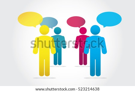 Group Business People Working and Speech Bubble