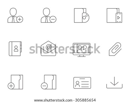 Group collaboration icons in thin outlines. Team work, cooperation. - stock vector