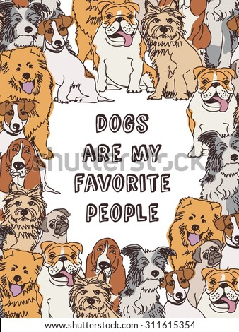 Group dogs frame border and sign color. Big group of different dogs in frame the sign on white background. Color vector illustration. EPS 8 - stock vector