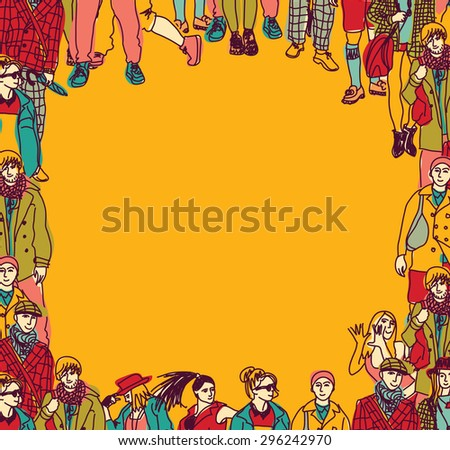 Group fashion people frame card color. Fashion happy people figures framing the card. Color vector illustration. - stock vector