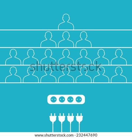 Group flat icons of people connected in one chain - stock vector