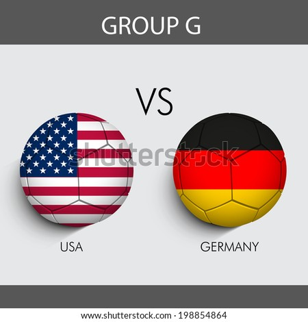 Group G Match U.S.A v/s Germany countries flags   - stock vector