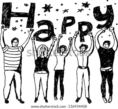Group happy people Group of cheerfull adult unrecognizable people. Hand drawing vector illustration. Black and white monochrome colors. - stock vector