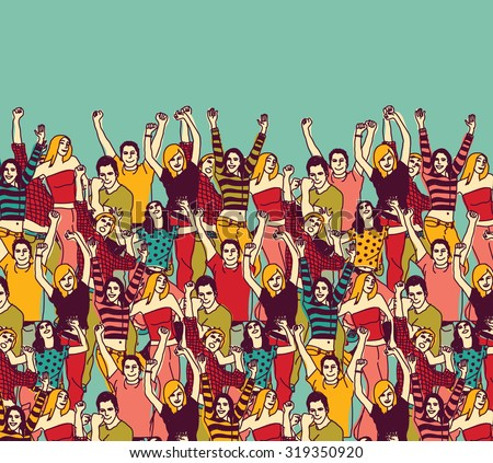 Group happy young people audience and sky color. Group of active happy people team. Vector illustration. EPS 8