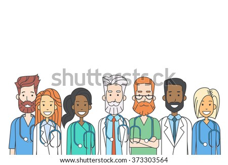 Group Medial Doctors Team Work Thin Line Profile Icon Vector Illustration - stock vector